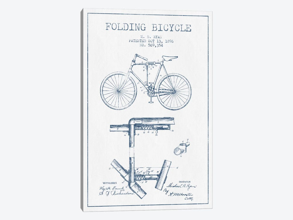 M.B. Ryan Folding Bicycle Patent Sketch (Ink) by Aged Pixel 1-piece Canvas Art