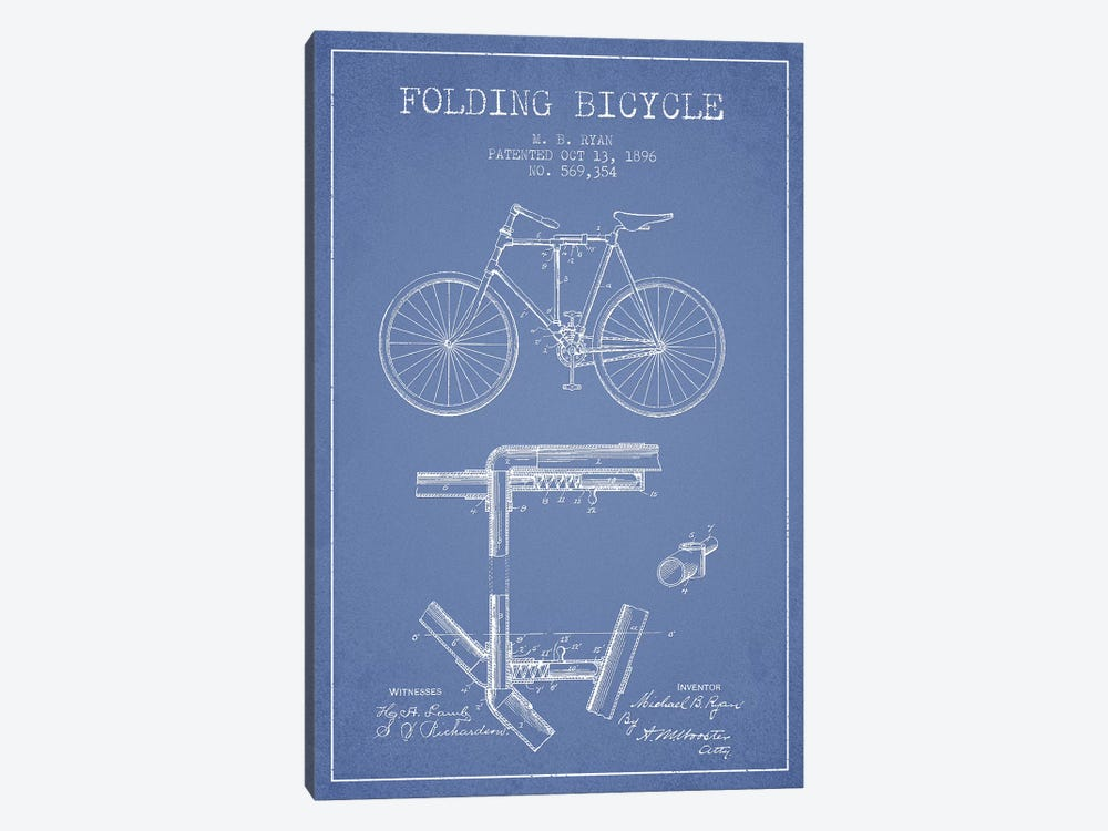 M.B. Ryan Folding Bicycle Patent Sketch (Light Blue) by Aged Pixel 1-piece Canvas Print