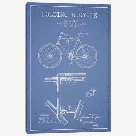 M.B. Ryan Folding Bicycle Patent Sketch (Light Blue) Canvas Print #ADP3036} by Aged Pixel Canvas Art Print