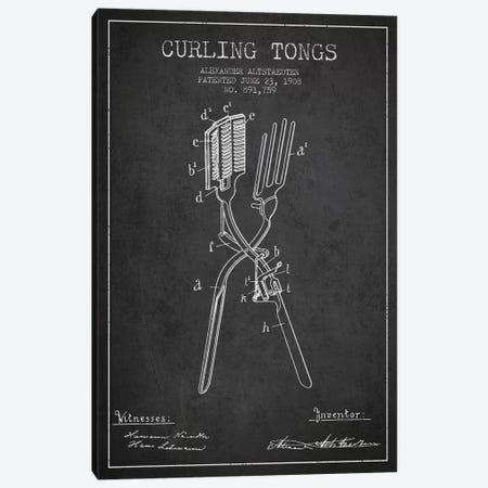Curling Tongs Charcoal Patent Blueprint Canvas Print #ADP303} by Aged Pixel Canvas Wall Art