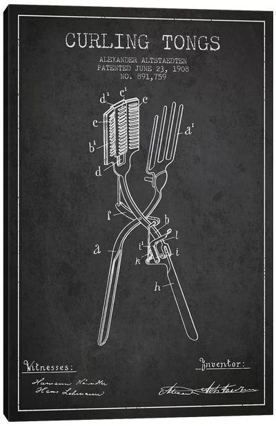 Curling Tongs Charcoal Patent Blueprint Canvas Art Print