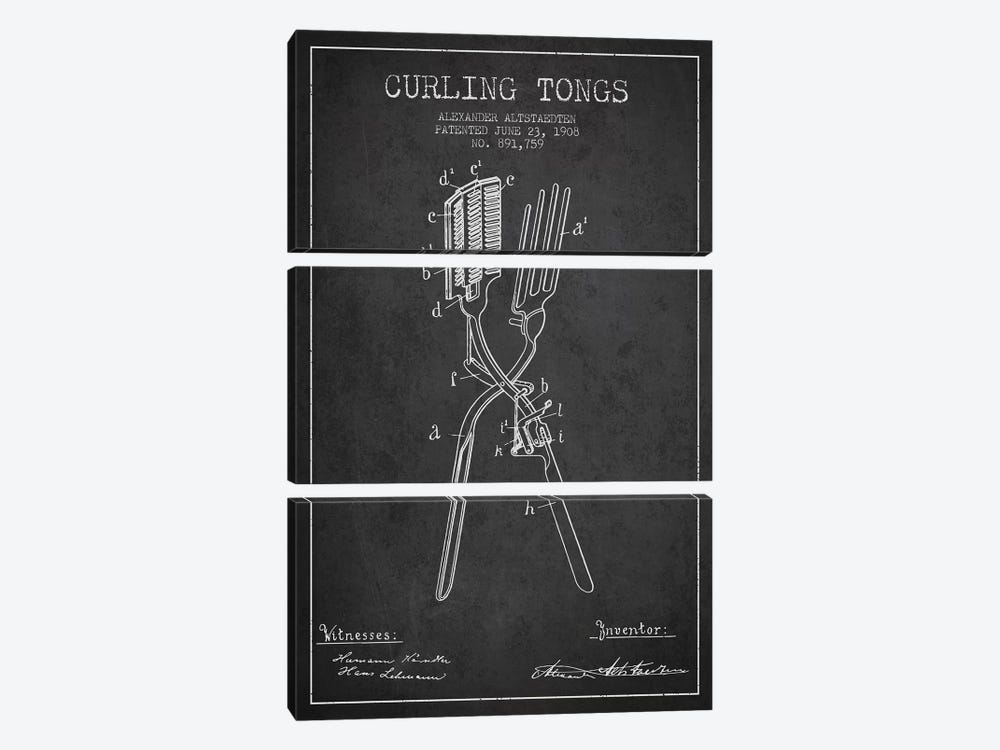 Curling Tongs Charcoal Patent Blueprint by Aged Pixel 3-piece Canvas Wall Art