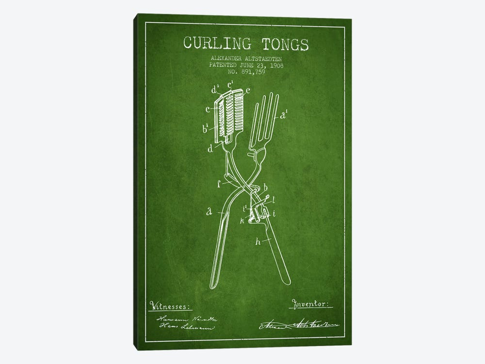 Curling Tongs Green Patent Blueprint by Aged Pixel 1-piece Art Print