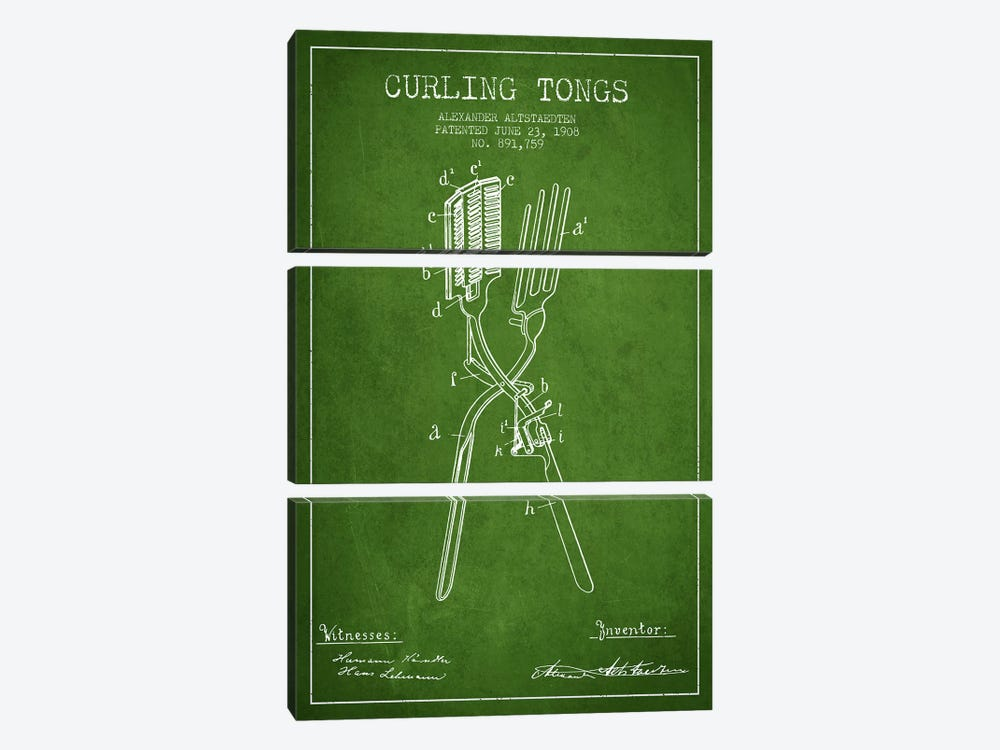 Curling Tongs Green Patent Blueprint by Aged Pixel 3-piece Art Print