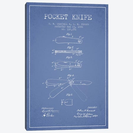 N.W. Grandall & G.W. Jopson Pocket Knife Patent Sketch (Light Blue) Canvas Print #ADP3051} by Aged Pixel Canvas Art