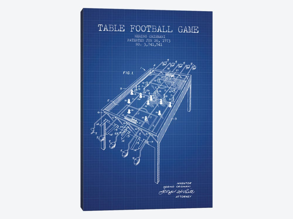 Nerino Crismani Table Football Game Patent Sketch (Blue Grid) by Aged Pixel 1-piece Canvas Wall Art