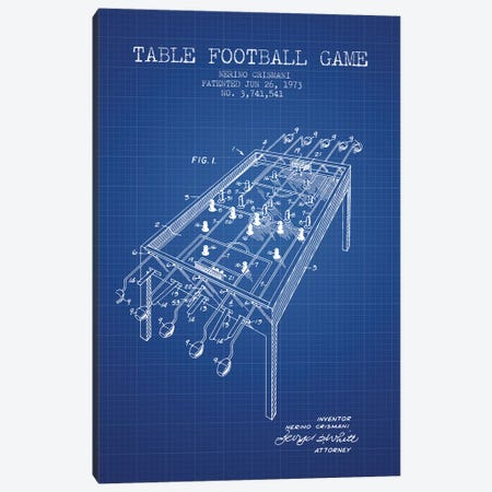 Nerino Crismani Table Football Game Patent Sketch (Blue Grid) Canvas Print #ADP3053} by Aged Pixel Canvas Art
