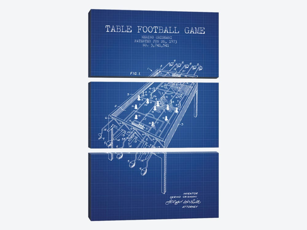 Nerino Crismani Table Football Game Patent Sketch (Blue Grid) by Aged Pixel 3-piece Canvas Wall Art
