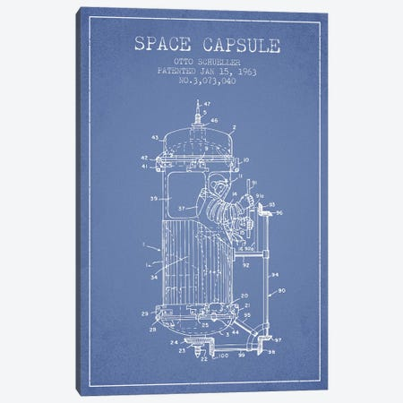Otto Schueller Space Capsule Patent Sketch (Light Blue) Canvas Print #ADP3057} by Aged Pixel Canvas Print