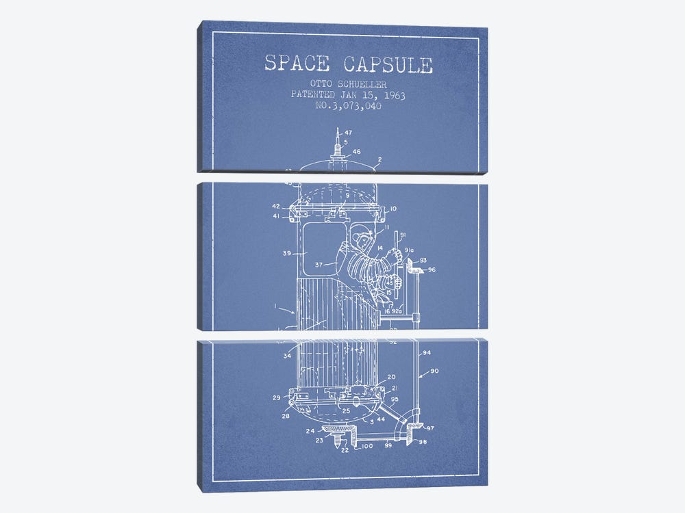Otto Schueller Space Capsule Patent Sketch (Light Blue) by Aged Pixel 3-piece Canvas Wall Art