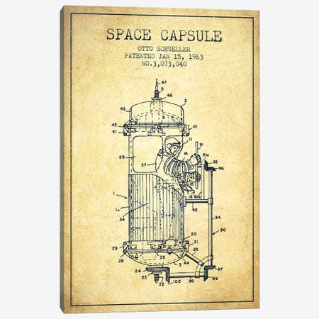 Otto Schueller Space Capsule Patent Sketch (Vintage) Canvas Print #ADP3058} by Aged Pixel Canvas Wall Art