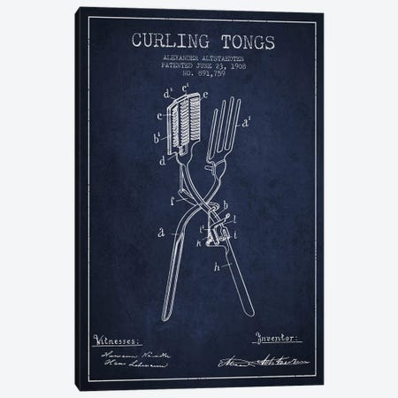 Curling Tongs 2 Navy Blue Patent Blueprint Canvas Print #ADP305} by Aged Pixel Canvas Art Print