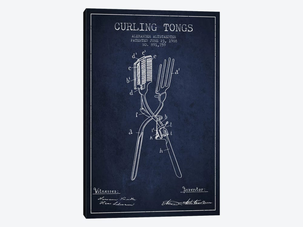Curling Tongs 2 Navy Blue Patent Blueprint by Aged Pixel 1-piece Canvas Art