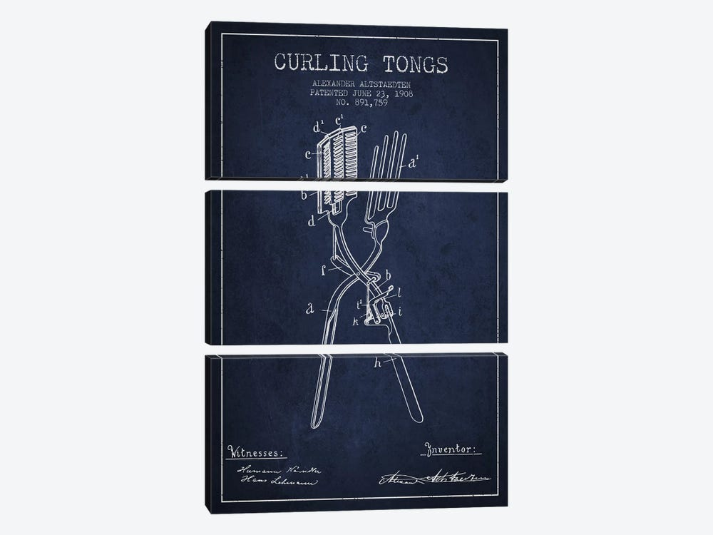 Curling Tongs 2 Navy Blue Patent Blueprint by Aged Pixel 3-piece Canvas Art