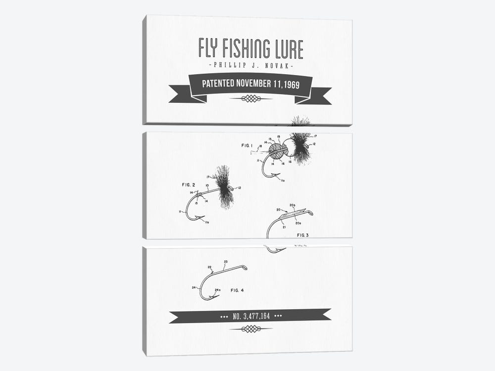 P.J. Novak Fly Fishing Lure Patent Sketch Retro (Charcoal) by Aged Pixel 3-piece Art Print
