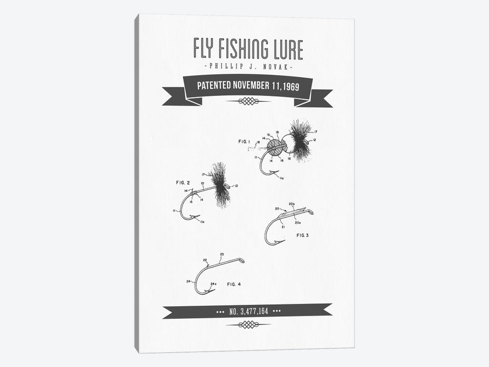 P.J. Novak Fly Fishing Lure Patent Sketch Retro (Charcoal) by Aged Pixel 1-piece Canvas Print