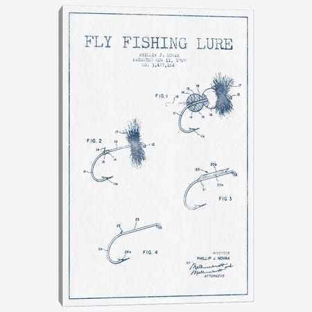 P.J. Novak Fly Fishing Lure Patent Sketch (Ink) Canvas Print #ADP3062} by Aged Pixel Canvas Art Print