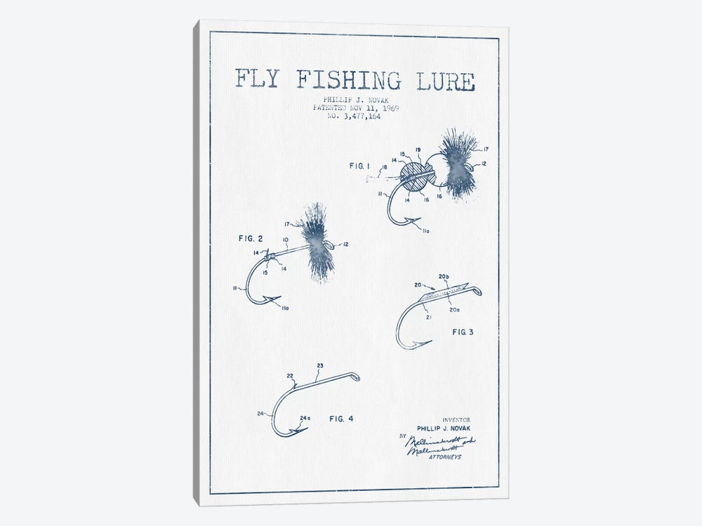 P.J. Novak Fly Fishing Lure Patent Sketch (Ink) by Aged Pixel 1-piece Canvas Wall Art