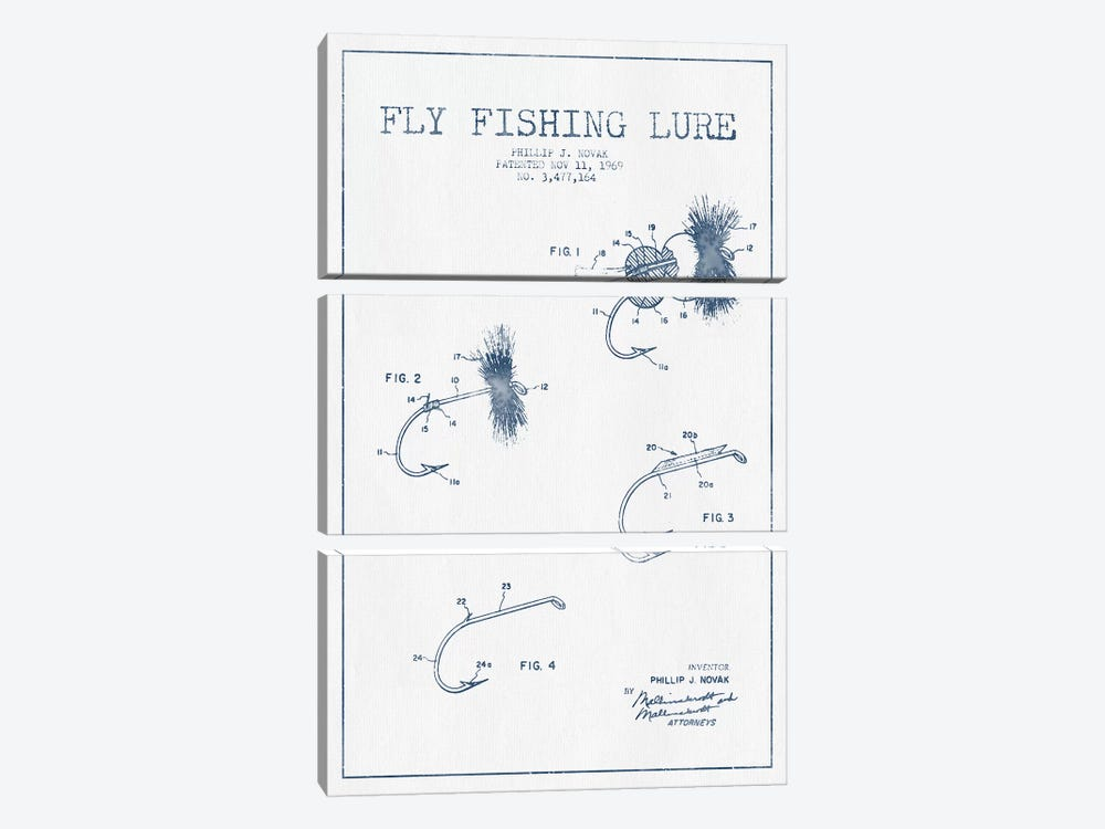 P.J. Novak Fly Fishing Lure Patent Sketch (Ink) by Aged Pixel 3-piece Canvas Wall Art