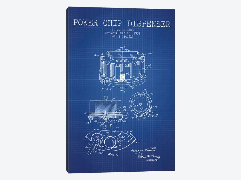 P.M. Reiland Poker Chip Dispenser Patent Sketch (Blue Grid) by Aged Pixel 1-piece Canvas Art Print
