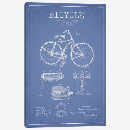 Pardon W. Tillinghast Bicycle Patent Sketch (Light Blue) Canvas Print #ADP3064} by Aged Pixel Canvas Artwork