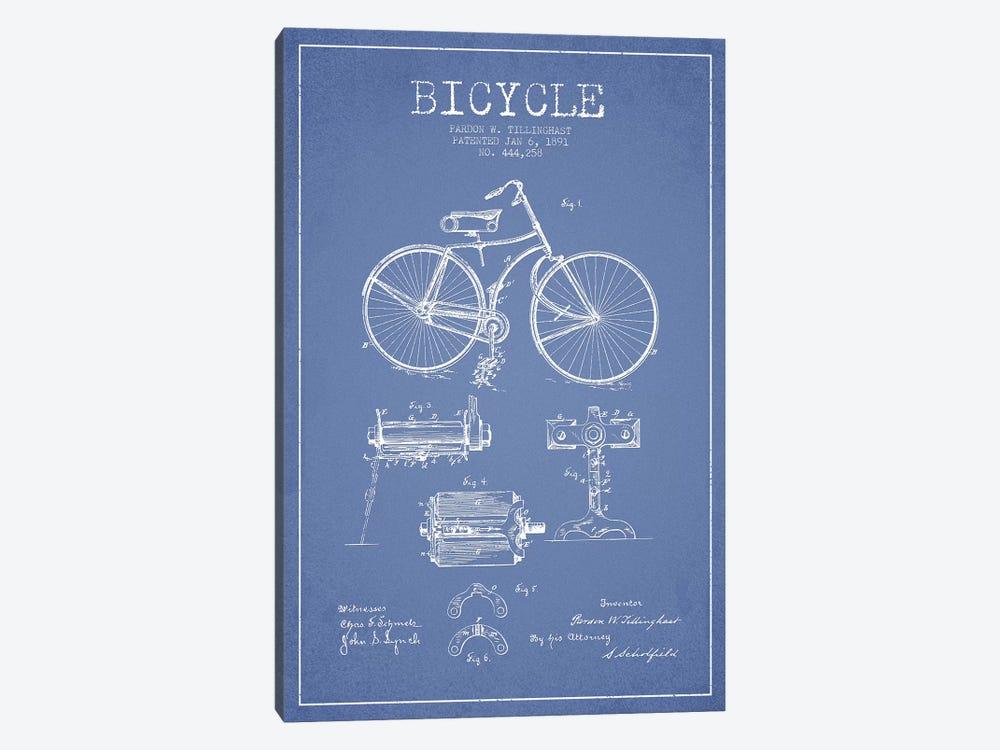 Pardon W. Tillinghast Bicycle Patent Sketch (Light Blue) by Aged Pixel 1-piece Canvas Art