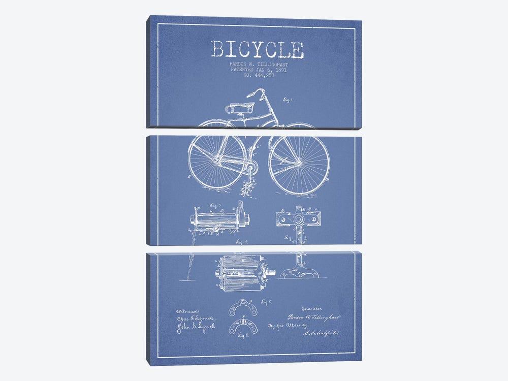 Pardon W. Tillinghast Bicycle Patent Sketch (Light Blue) by Aged Pixel 3-piece Canvas Artwork