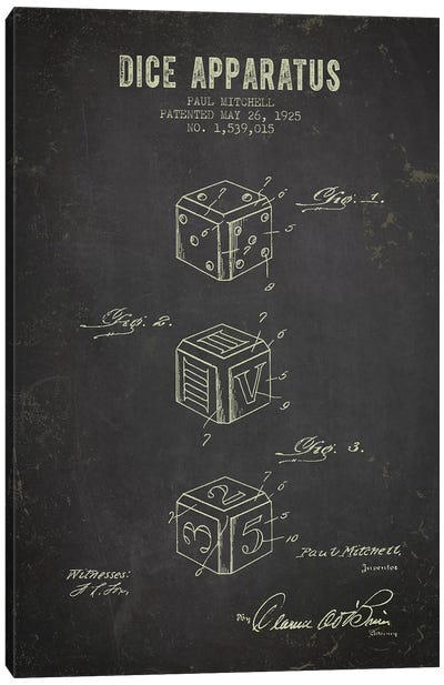 Paul Mitchell Dice Apparatus Patent Sketch (Charcoal) Canvas Art Print