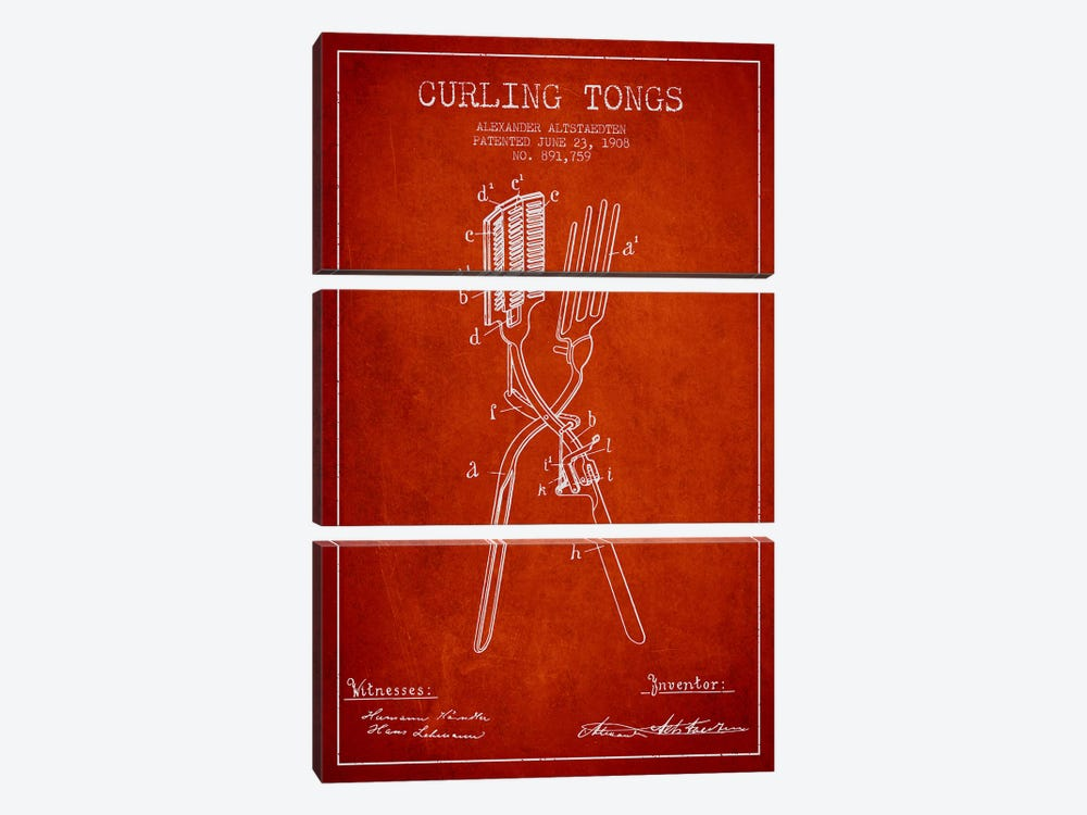 Curling Tongs Red Patent Blueprint by Aged Pixel 3-piece Art Print