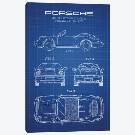 Porsche Corporation Porsche Patent Sketch (Blue Grid) Canvas Print #ADP3073} by Aged Pixel Canvas Wall Art