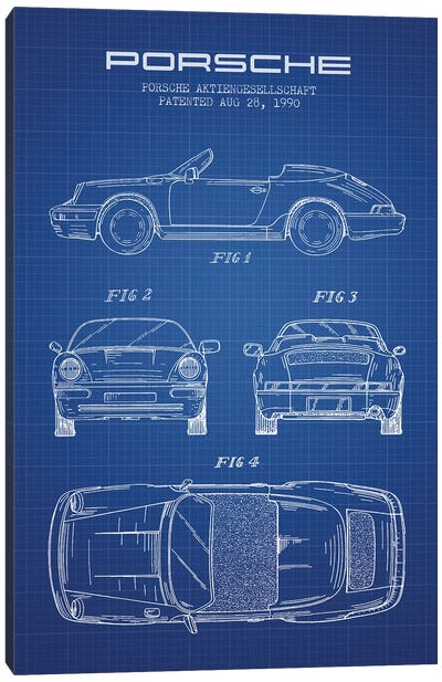 Porsche Corporation Porsche Patent Sketch (Blue Grid) Canvas Art Print