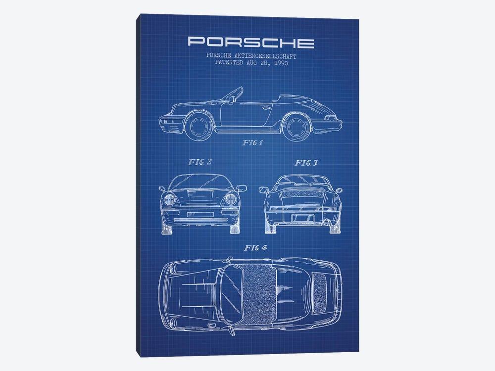 Porsche Corporation Porsche Patent Sketch (Blue Grid) by Aged Pixel 1-piece Canvas Artwork