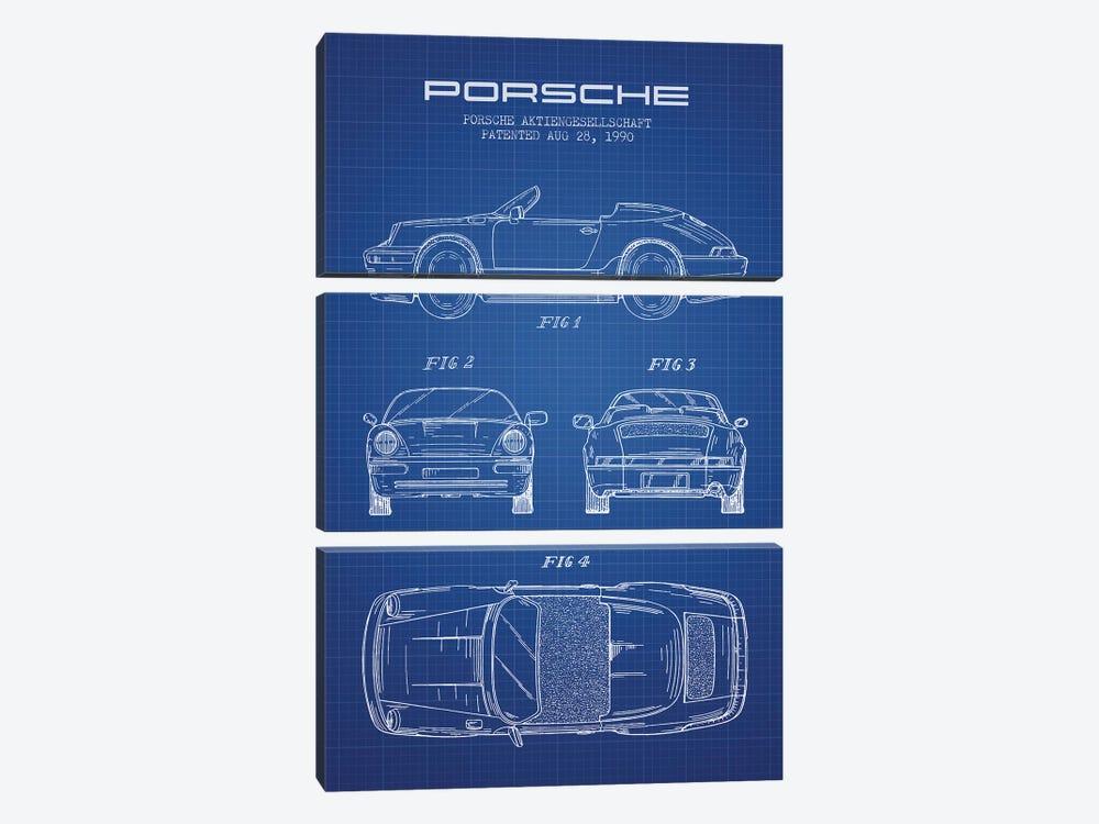 Porsche Corporation Porsche Patent Sketch (Blue Grid) by Aged Pixel 3-piece Canvas Artwork