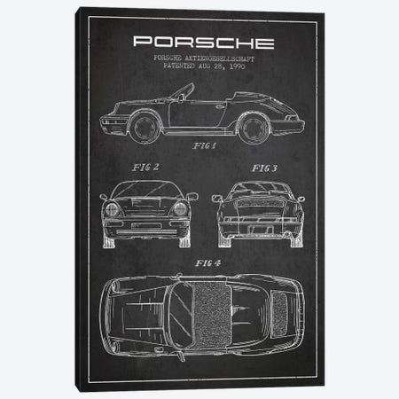 Porsche Corporation Porsche Patent Sketch (Charcoal) Canvas Print #ADP3074} by Aged Pixel Canvas Print