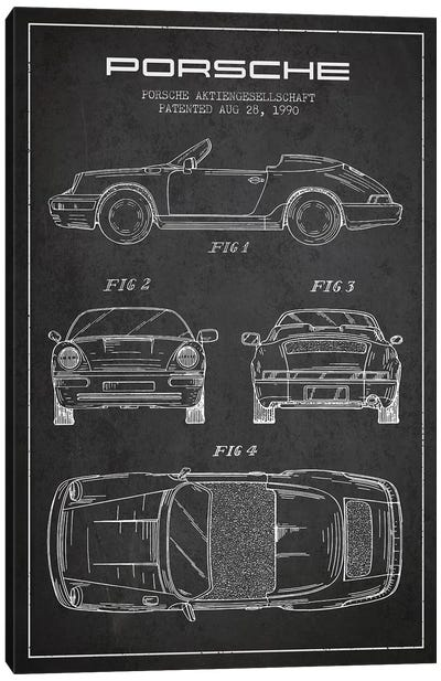 Porsche Corporation Porsche Patent Sketch (Charcoal) Canvas Art Print