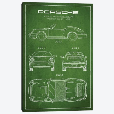 Porsche Corporation Porsche Patent Sketch (Green) Canvas Print #ADP3075} by Aged Pixel Canvas Print
