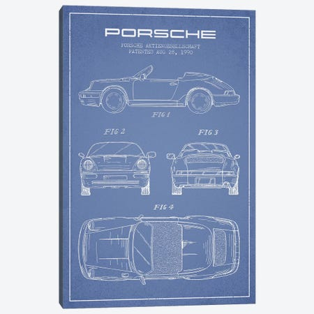 Porsche Corporation Porsche Patent Sketch (Light Blue) Canvas Print #ADP3076} by Aged Pixel Canvas Print