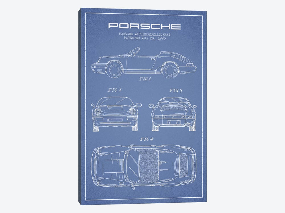 Porsche Corporation Porsche Patent Sketch (Light Blue) by Aged Pixel 1-piece Canvas Art Print