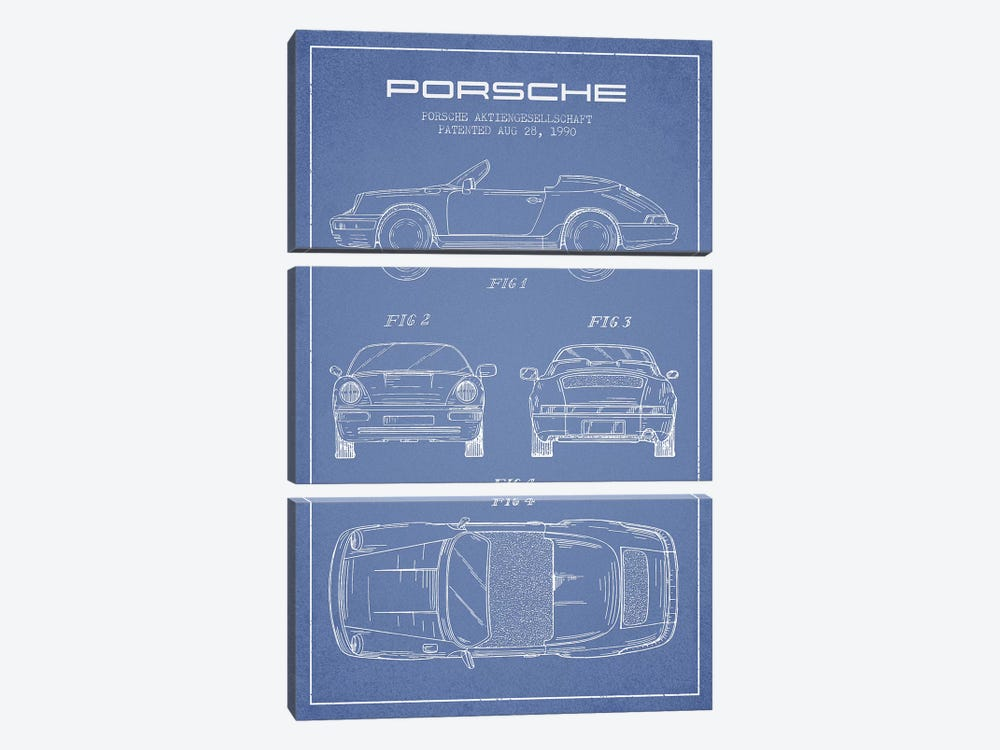 Porsche Corporation Porsche Patent Sketch (Light Blue) by Aged Pixel 3-piece Art Print