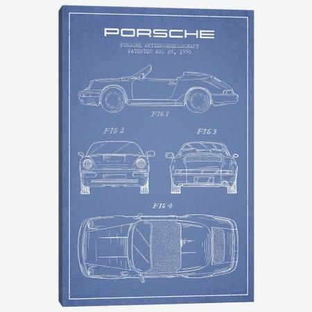 Porsche Corporation Porsche Patent Sketch (Light Blue) Canvas Print #ADP3076} by Aged Pixel Canvas Print