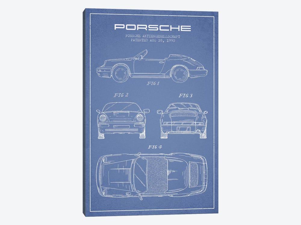 Porsche Corporation Porsche Patent Sketch (Light Blue) by Aged Pixel 1-piece Canvas Art Print