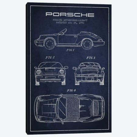 Porsche Corporation Porsche Patent Sketch (Navy Blue) Canvas Print #ADP3077} by Aged Pixel Canvas Art Print