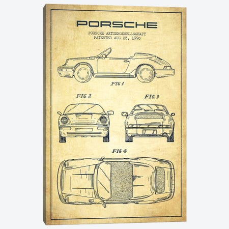Porsche Corporation Porsche Patent Sketch (Vintage) Canvas Print #ADP3078} by Aged Pixel Canvas Artwork