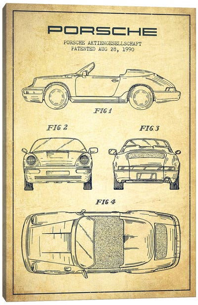 Porsche Corporation Porsche Patent Sketch (Vintage) Canvas Art Print