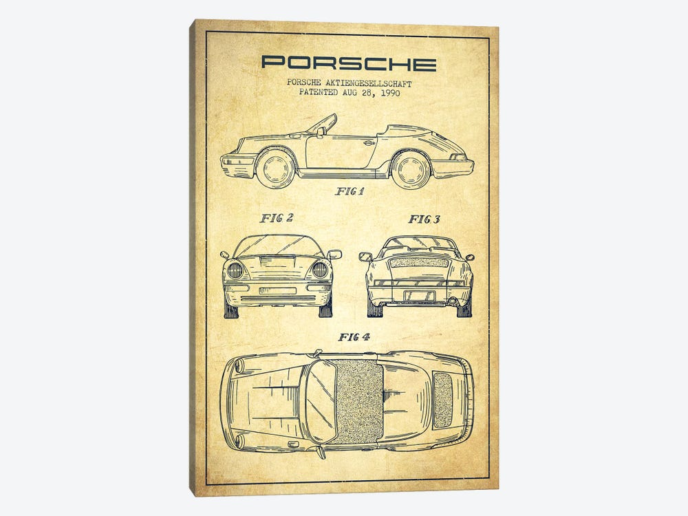 Porsche Corporation Porsche Patent Sketch (Vintage) by Aged Pixel 1-piece Canvas Print