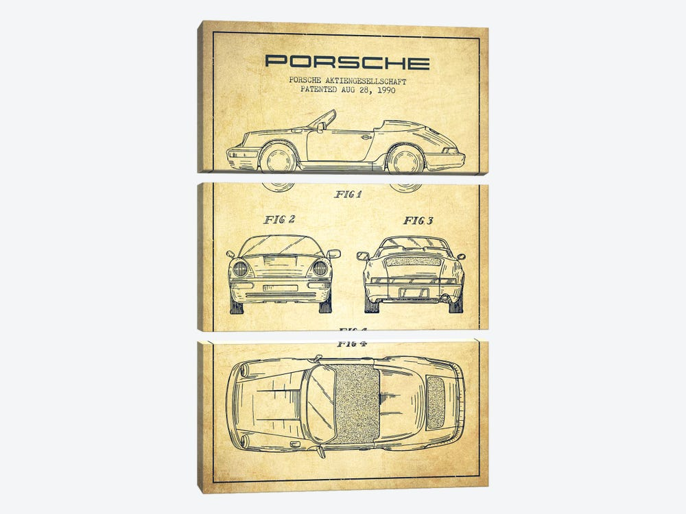 Porsche Corporation Porsche Patent Sketch (Vintage) by Aged Pixel 3-piece Art Print