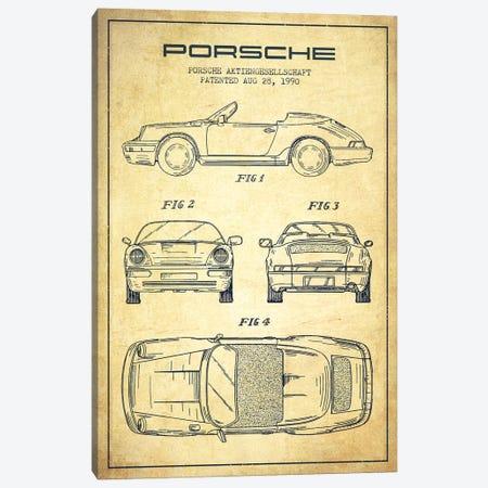 Porsche Corporation Porsche Patent Sketch (Vintage) Canvas Print #ADP3078} by Aged Pixel Canvas Artwork