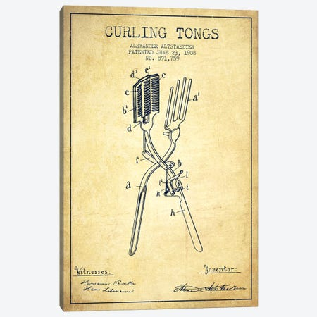 Curling Tongs Vintage Patent Blueprint Canvas Print #ADP307} by Aged Pixel Art Print