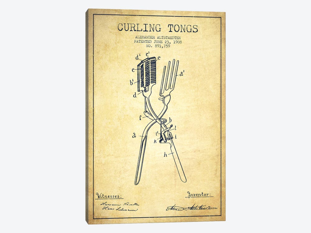 Curling Tongs Vintage Patent Blueprint by Aged Pixel 1-piece Canvas Wall Art