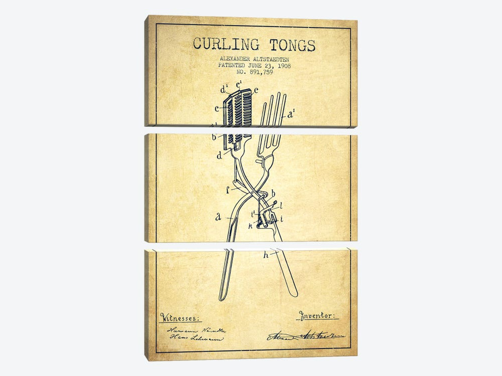 Curling Tongs Vintage Patent Blueprint by Aged Pixel 3-piece Canvas Wall Art